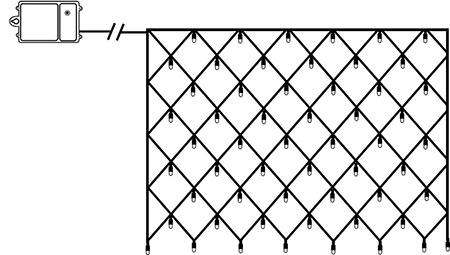 Batteridriven ljusslinga nät 80 lampor, 1,35x0,8m