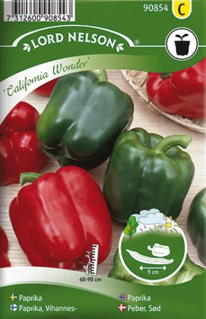 Paprika, California Wonder, röd frö