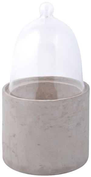Betongkruka med växtklocka i glas L