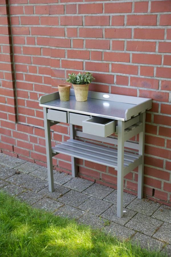 Planteringsbord med plåt grå
